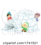 Stickman Kids Make Snow Fort Winter Illustration