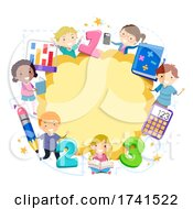 Stickman Kids Math Frame Illustration