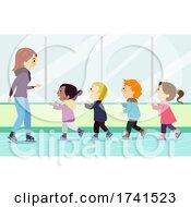Stickman Kids Ice Skating Lesson Illustration