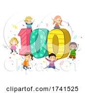 Stickman Kids 100 Celebration Illustration