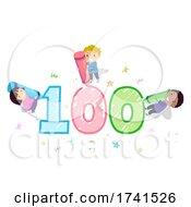 Stickman Kids 100 Day School Crayons Illustration