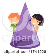 Stickman Kids Common Shape Cone 3D Illustration