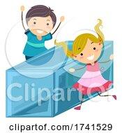 Stickman Kids Common Shape Rectangle Illustration