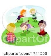Poster, Art Print Of Stickman Kids Activity Frog Jump Illustration