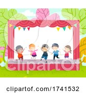 Poster, Art Print Of Stickman Kids Dance Outdoor Stage Illustration
