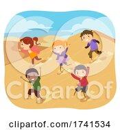 Stickman Kids Desert Run Sand Dunes Illustration