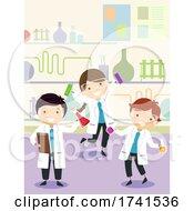 Stickman Kids Experiment Lab Class Illustration