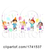 Stickman Kids Ice Cream Social Party Illustration