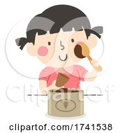 Poster, Art Print Of Kid Girl Scoop Ice Cream Illustration
