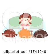 Kid Girl Class Attendance Monitor Illustration