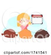 Kid Girl Class Calendar Helper Illustration