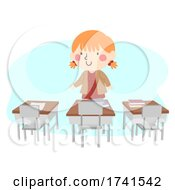 Kid Girl Class Desk Detective Illustration