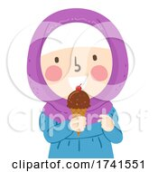 Kid Girl Muslim Ice Cream Cone Illustration