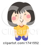 Kid Girl Position Kneeling Illustration