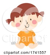 Kid Girl Position Sitting Illustration