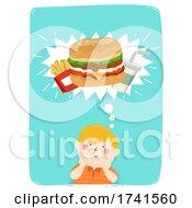 Kid Boy Fat Think Junk Food Illustration