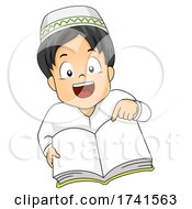 Kid Boy Muslim Open Book Illustration