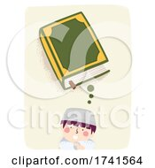Kid Boy Muslim Think Quran Illustration