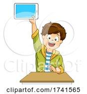 Kid Boy Student Raise Tablet Answer Illustration