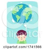 Poster, Art Print Of Kid Boy Think Earth World Illustration