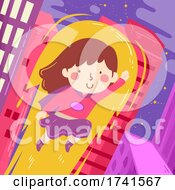 Kid Girl Super Hero Fly Buildings Illustration