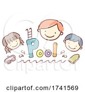 Stickman Kids School Pool Text Illustration