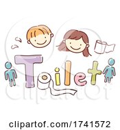 Stickman Kids School Toilet Lettering Illustration