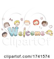 Stickman Kids Welcome Lettering Illustration