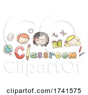 Kids Teacher Classroom Lettering Illustration