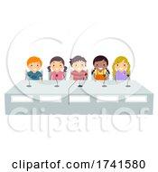 Poster, Art Print Of Stickman Kids Group Quiz Bee Mic Illustration