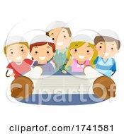 Stickman Kids Look Torah Scroll Illustration
