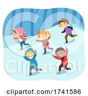 Stickman Kids Snow Run Fun Illustration