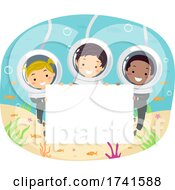 Poster, Art Print Of Stickman Kids Underwater Blank Board Illustration