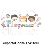 Stickman Kids School Playroom Text Illustration