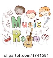 Stickman Kids School Music Room Illustration