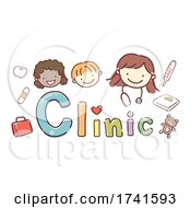 Stickman Kids School Clinic Girl Illustration