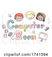 Stickman Kids School Computer Room Illustration