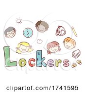 Stickman Kids School Lockers Illustration