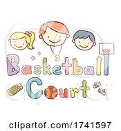 Poster, Art Print Of Stickman Kids School Basketball Court Illustration