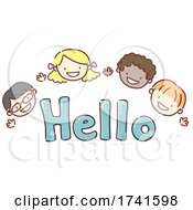 Stickman Kids Greet Hello Lettering Illustration