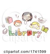 Stickman Kid Girl Librarian Library Illustration
