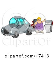 Blond Caucasian Woman Inserting A Gasoline Pump Into Her Vehicle To Fill It At A Gas Station Up Before Commuting To Work