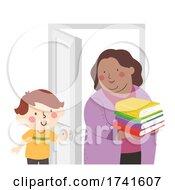 Kid Boy Hold Door Teacher Books Illustration