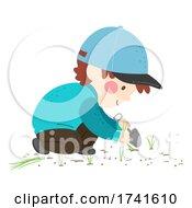 Kid Boy Shovel Grass Weeds Illustration