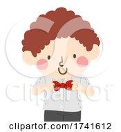 Kid Boy Wear Ribbon Formal Illustration