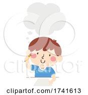 Kid Boy Write Paper Thinking Cloud Illustration