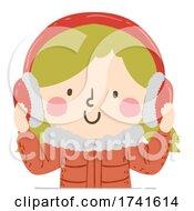 Kid Girl Ear Muffs Winter Illustration