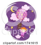 04/15/2021 - Kid Girl Bear Toy Balloon Stars Illustration