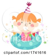 Poster, Art Print Of Kid Girl Party Bunting Swimming Illustration