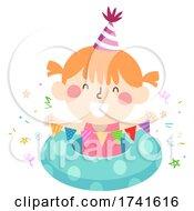 Kid Girl Party Bunting Swimming Illustration